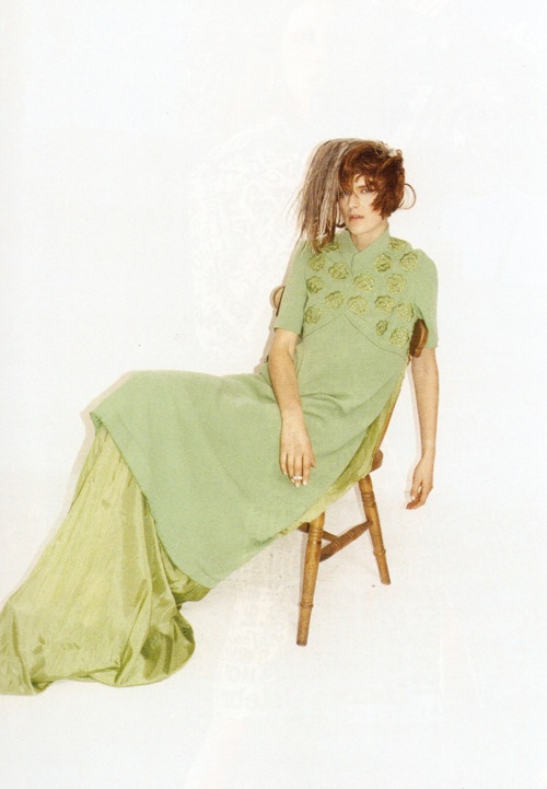 Purple Magazine Spring 2007  Maison Martin Margiela Retrospective  Photography: Juergen Teller  Styling: Jane How  Hair & Make-up: Dick Page  S/S 2005 green horizontal dress.