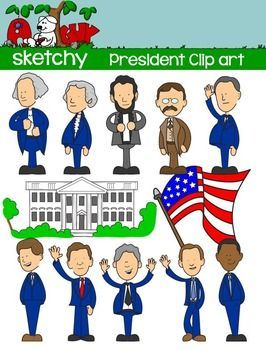 President / Presidents Day Fun Clipart Graphics - 12 Color and 12 Black Lined      $