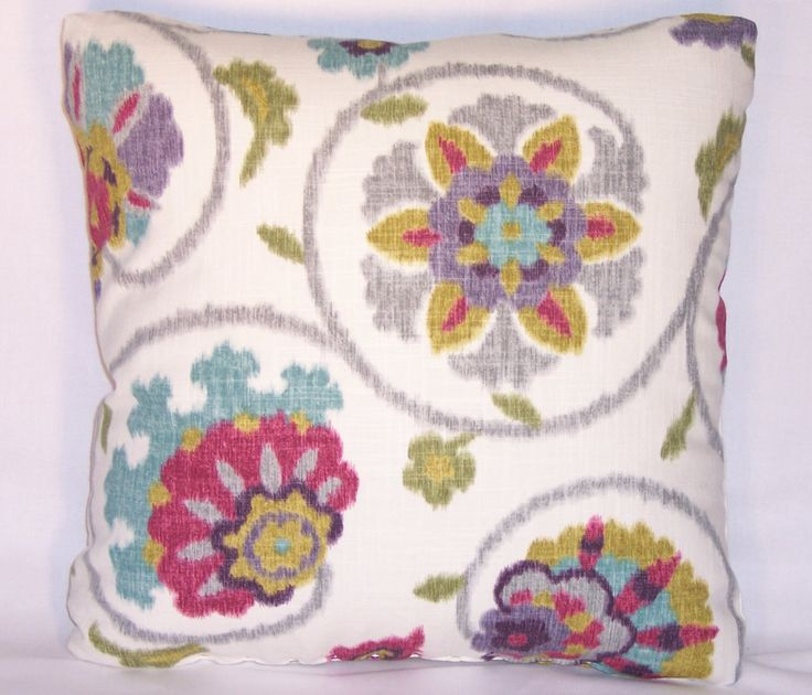 """Colorful Suzani Floral Throw Pillow  P. Kaufmann Pamir Aqua Purple Magenta 17"""" Square Ready to Ship Cover and Insert by PillowDetails on Etsy https://www.etsy.com/listing/191624276/colorful-suzani-floral-throw-pillow-p"""