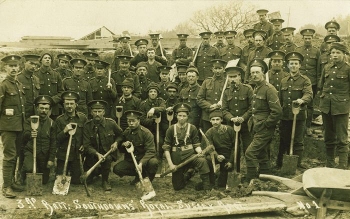 Men often went to the recruiting office with friends and ended up in the same battalion, Encouraging men to join up with their friends or colleagues was a useful way to recruit even more soldiers, and help maintain spirits in difficult times.They were known as the Pals Battalions. My fictional gardeners at Summerhayes down tools and walk to Worthing to sign up for one.The picture is of Lowther's Lambs, a pals battalion based in Sussex.