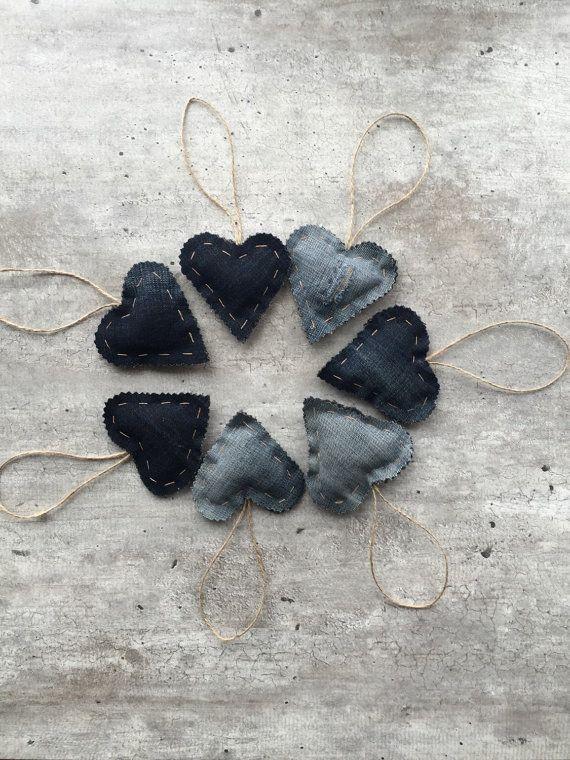 Denim Hearts Valentines Hanging Hearts Denim Decor by woolpleasure