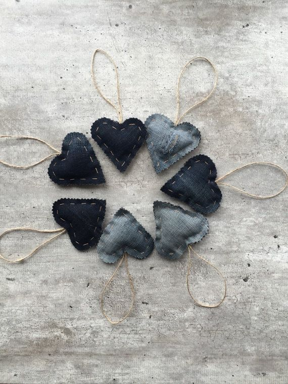 Denim Hearts Valentines Hanging Hearts Denim Decor by woolpleasure