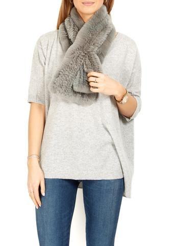 Fur 5 Eight Light Grey Knitted Rabbit Fur Scarf