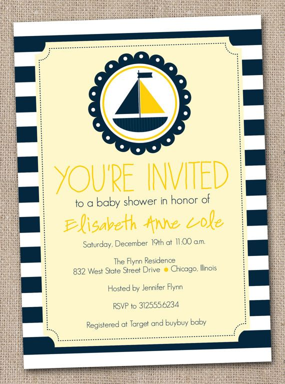 Nautical Baby Shower Invitation Printable by InkObsessionDesigns, $16.00