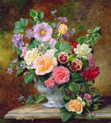 Fine Art Print of Roses, pansies and other flowers in a vase by Albert Williams