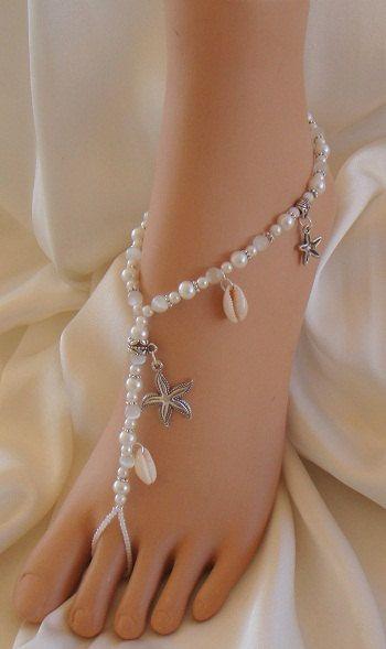 Estrellas de mar y caracol, sandalias Descalzas, pie de joyería. Hecho con estrellas de mar de plata tibetana y conchas de mar Real. Hecho a
