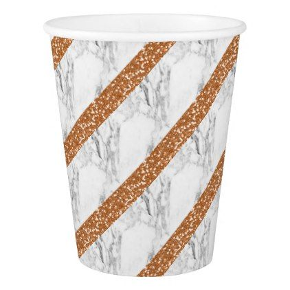 Marble rose gold glitter paper cup - glitter glamour brilliance sparkle design idea diy elegant