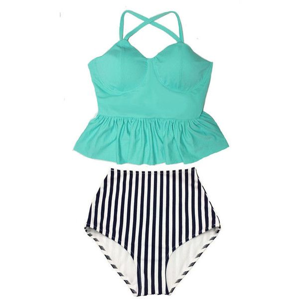 Mint Long Peplum Tankini Straps Top and Stripe High Waist Waisted... (620 ARS) ❤ liked on Polyvore featuring swimwear, bikinis, silver, women's clothing, high waisted bikini, swimsuits bikinis, retro high waisted bikini, bikini swimsuit and peplum tankini swimsuit
