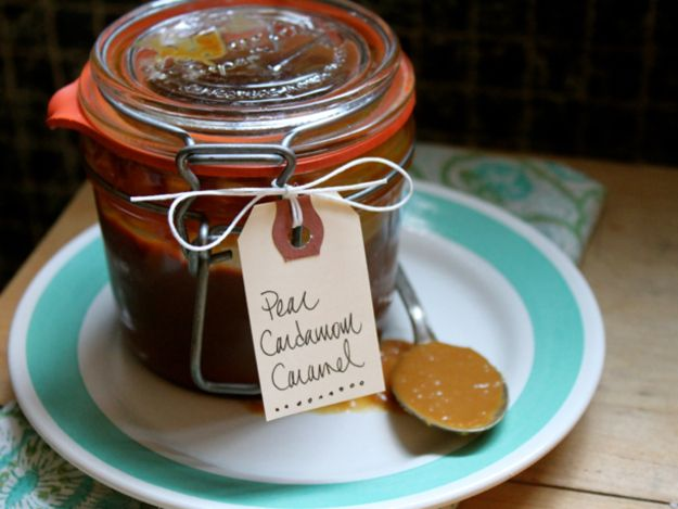 This caramel, folded with cooked down pears, has a lush, fudgy texture ...