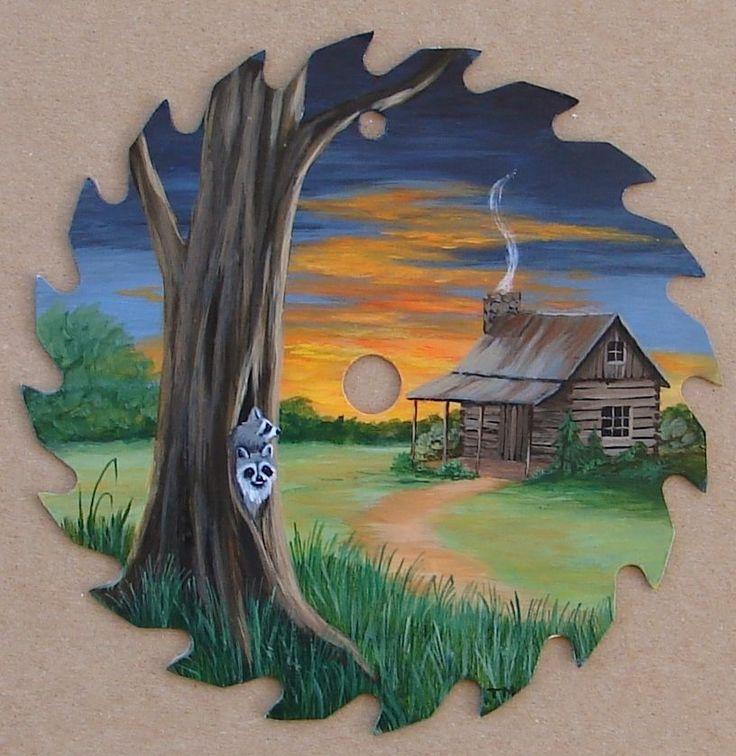 Hand Painted Saw Blade Raccoons Log Cabin Lodge Decor Sunset Folk Art Americana | eBay