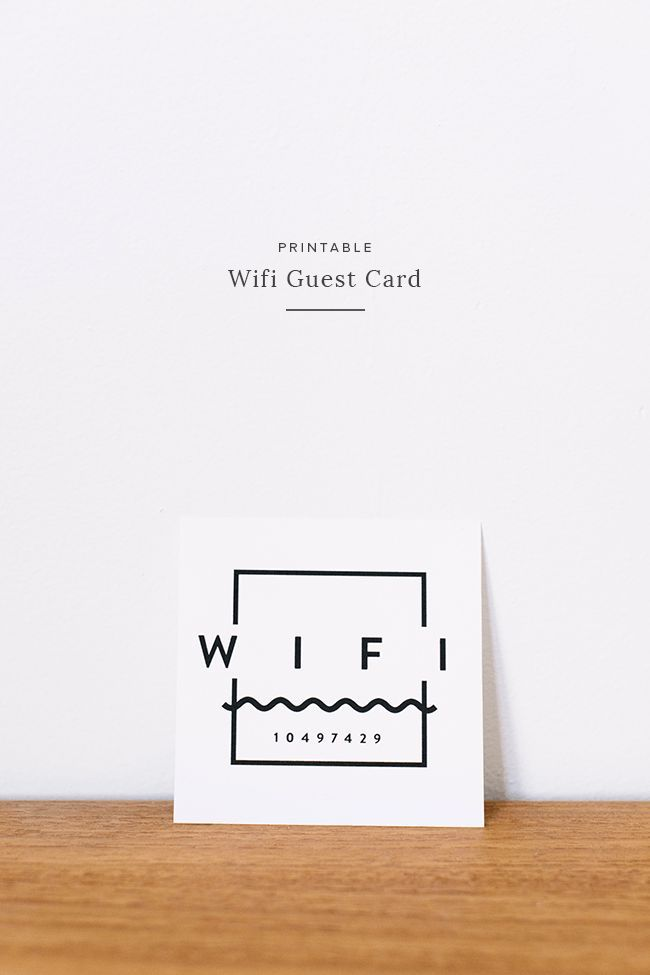printable wifi guest card - great idea to keep in your guest room or if you're an airbnb host