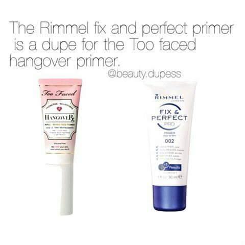 Rimmel Fix & Perfect: possible dupe for Too Faced Hangover? Results: I wear this without foundation, and it does seem to have a smoothing effect, though it's not super mattifying. It doesn't irritate my sensitive skin, though I wish it were unscented.  (I've never used the Too Faced, but it smells like rotten banana peel, so no thank you!)