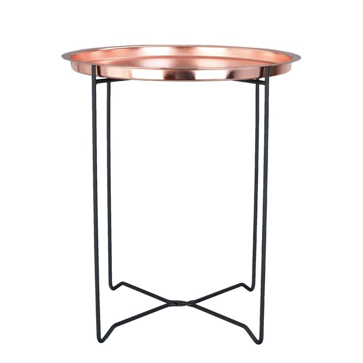 Copper Tray Side Table - This simple scandi styled copper finish side tray table is a perfect addition to anyscandi, contemporary home offering style and functionality acting as a table and tray this can be used for a lamp or for serving guests and the mix of black and copper create a striking look.