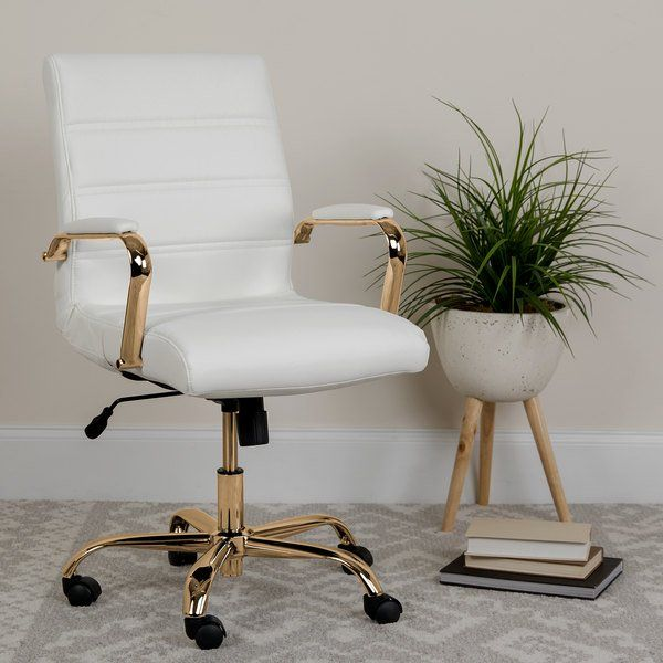 Flash Furniture Go 2286m Wh Gld Gg Mid Back White Leather Swivel Office Chair With Gold Base And Arms In 2020 Swivel Office Chair Furniture White Desk Office