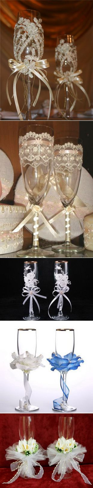 » Украшение свадебных бокалов своими руками. Мастер-класс » Дарина Никонова. Украшения из бисера