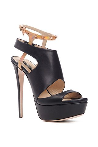 Ruthie Davis Black Platform Sandals with Studded Ankle Strap Fall 2014 #Shoes #Heels