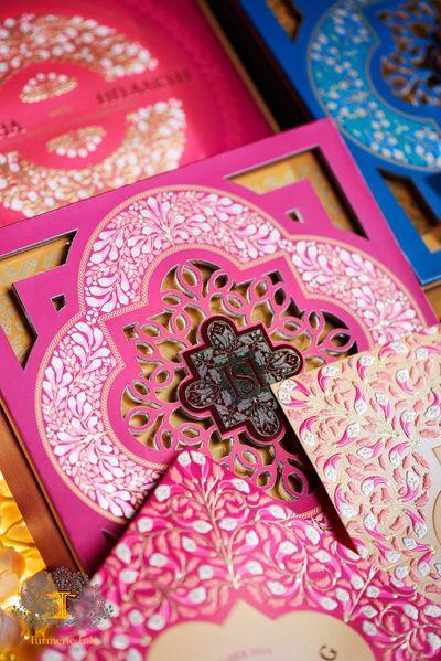 Wedding Invitations -Turmeric Ink Invitations | WedMeGood | Pink Laser Cut Wedding Invitation  #wedmegood #indianwedding #invitation #lasercut #pink #white