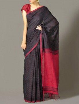 Color-Block Cotton Saree