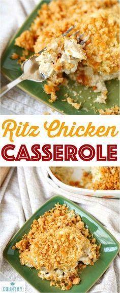 Ritz Chicken Cassero Ritz Chicken Casserole recipe from The... Ritz Chicken Cassero Ritz Chicken Casserole recipe from The Country Cook - only 6 ingredients . A huge family favorite - the best! Recipe : http://www.itubeudecide.com/ And @ItsNutella https://www.pinterest.co.uk/ItsNutella