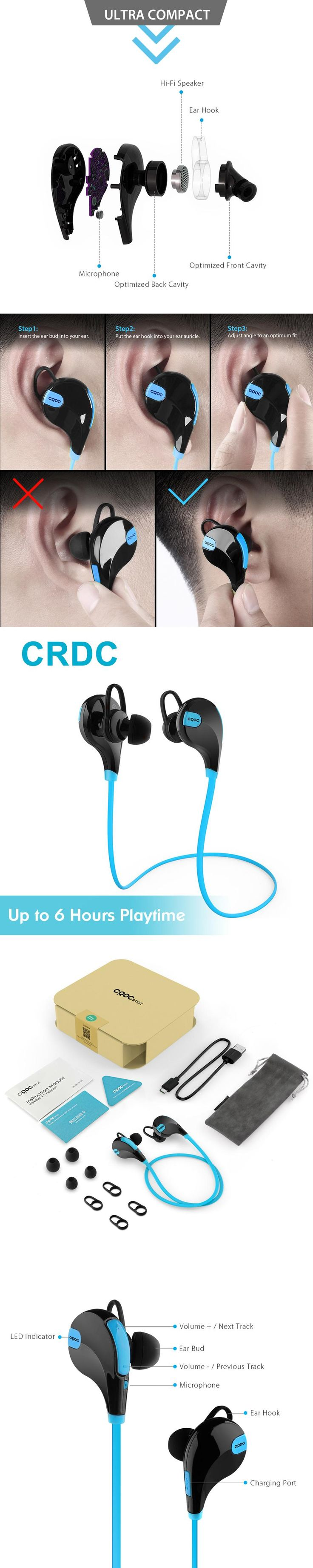 CRDC Bluetooth Headset Sport Wireless Earphones with Mic Noise Cancelling Earbuds Running Bluetooth Headphones For iPhone Xiaomi