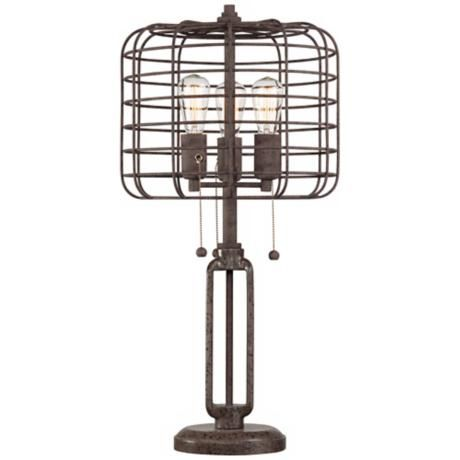 Industrial Cage Edison Bulb Rust Metal Table Lamp - #W6747   LampsPlus.com