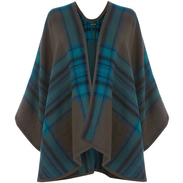 Warehouse Checked Cape ($27) ❤ liked on Polyvore featuring outerwear, cape, poncho, tops, grey, grey poncho, cape poncho, open front poncho, gray poncho and grey cape coat