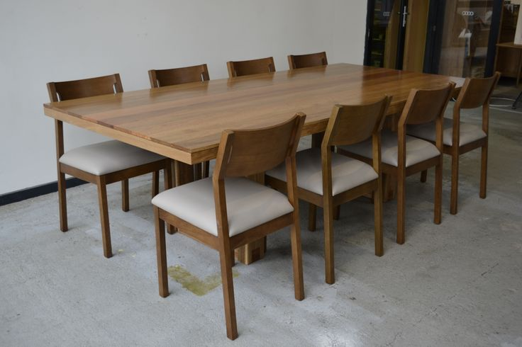 Custom Table - Client provided reclaimed Spotted Gum floorboards and we turned them into this amazing table. Along with the Mojito Dining Chairs that we stained to match the Spotted Gum and upholstered in a soft leather.