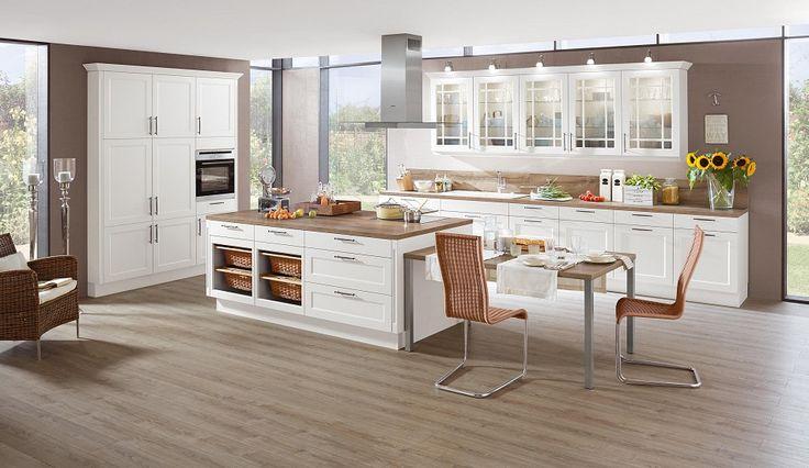 Landhaus-Einbauküche Norina 9977-Weiss-Lack - Küchen Quelle