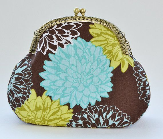 Blue brown green chrysanthemum frame purse | Flower cotton wallet with clasp | Turquoise Purse Golden-daisy | Clutch with Kisslock