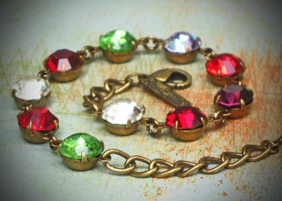 Vintage Rhinestone Birthstone Grandmother Bracelet, Brass, Your Choice of Jewel, Ten Stone  http://etsy.me/rrzx7i: Grandmothers Gifts, Vintage Rhinestone, Gifts Ideas, Grandmother Gifts
