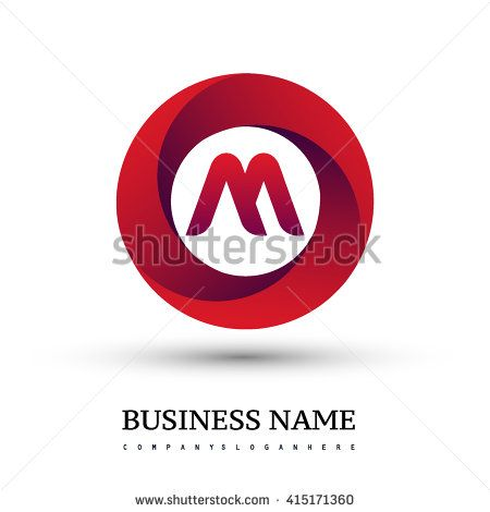 M letter logo in the red circle. Vector design template elements for your application or company identity. - stock vector
