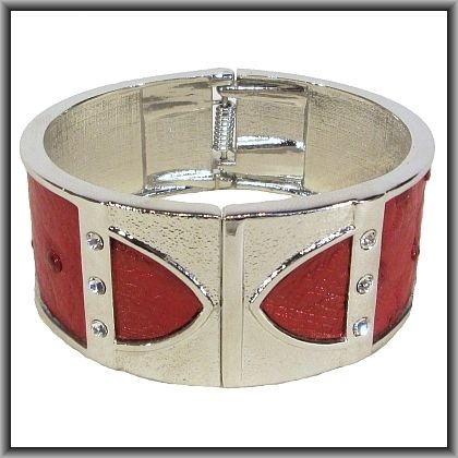 Ostrich leather crystal bangles - flame red OB11