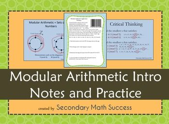 Modular Arithmetic Introduction. Great for math enrichment. Cyclical numbers. Lesson, practice, applications to UPC codes, critical thinking problems.