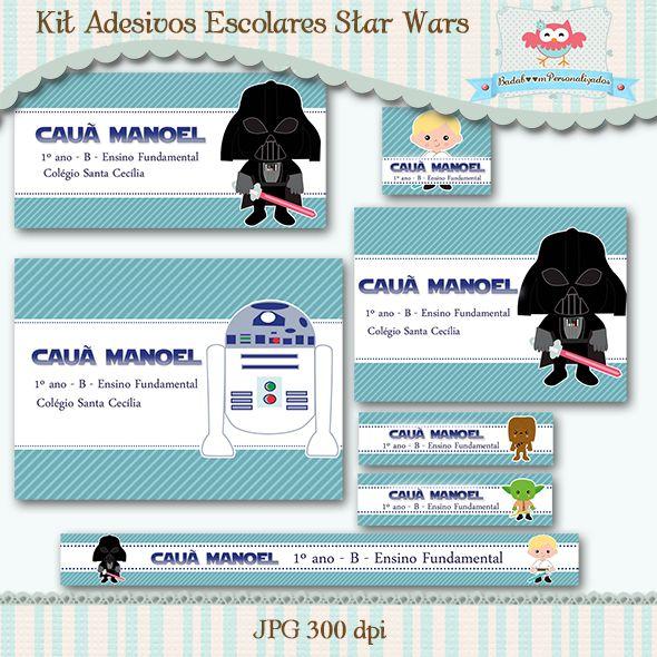 Kit Adesivos Escolares Star Wars