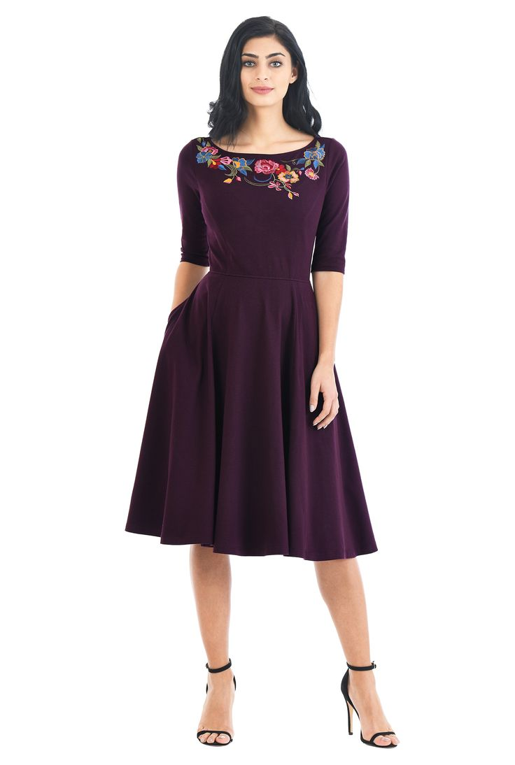 Our cotton jersey knit dress is embellished with vibrant florals around the boat neck, with a princess seamed bodice and full flared skirt for classic fit-and-flare flattery.