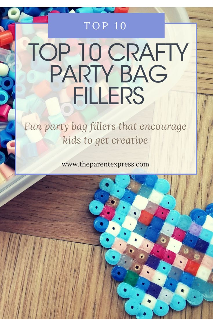 Top 10 Crafty Party Bag fillers    Are you stuck in a rut with your party bag fillers? Always handing out sweets, bubbles and cake? Want something that lasts a bit longer? Then how about adding something crafty to the party bag such as Shrinkles, Hama beads, lego etc. See our Top 10 suggestions