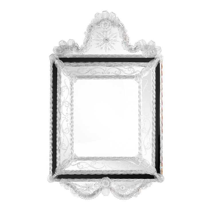 0106 Two-tones Venetian style mirror with engravings and #Murano glass decorations in crystal colour. Structure in natural wood.