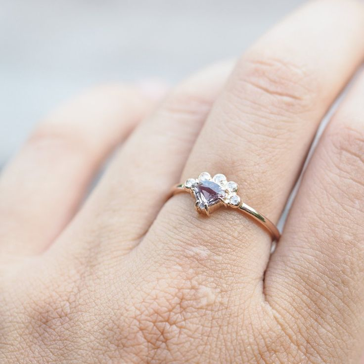 Color Change Sapphire and Diamond Crown Ring in Rose Gold - Gardens of the Sun Jewelry