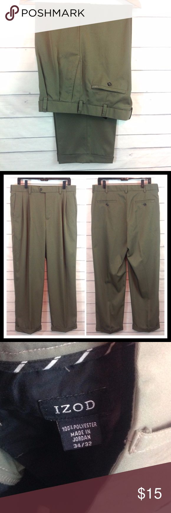 Izod Olive / Khaki Green Dress Pant 34 x 32 NWOT New without tags! Never worn Izod dress pant in khaki / olive green. Size 34 x 32. 100% polyester.  🔹Ask all questions before you purchase!  🔹No trades or holds. 🔹Bundle for best prices. Izod Pants Dress