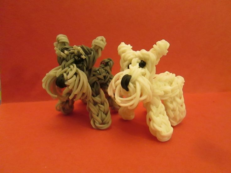 Rainbow Loom Schnauzer Dog or Puppy Charm  tutorial by Lovely Lovebird Designs. 3-D
