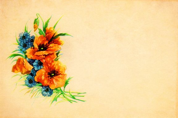 "An old c1910 postcard that shows a bouquet of summer flowers - orange poppies and blue wild chicory. The original greeting on the card had this little verse:  ""Accept this loving greeting from the heart of a friend with many happy memories of days we used to spend.""  Download the high-resolution (300ppi) JPEG for personal or commercial design projects at Vintage Field & Garden. Please read and respect my Terms of Use and credit with a link back or leave a comment if you use this free image.:"