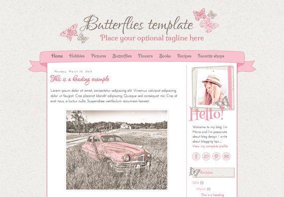 Responsive Blogger Template. Butterflies template. Premade. Blog design.