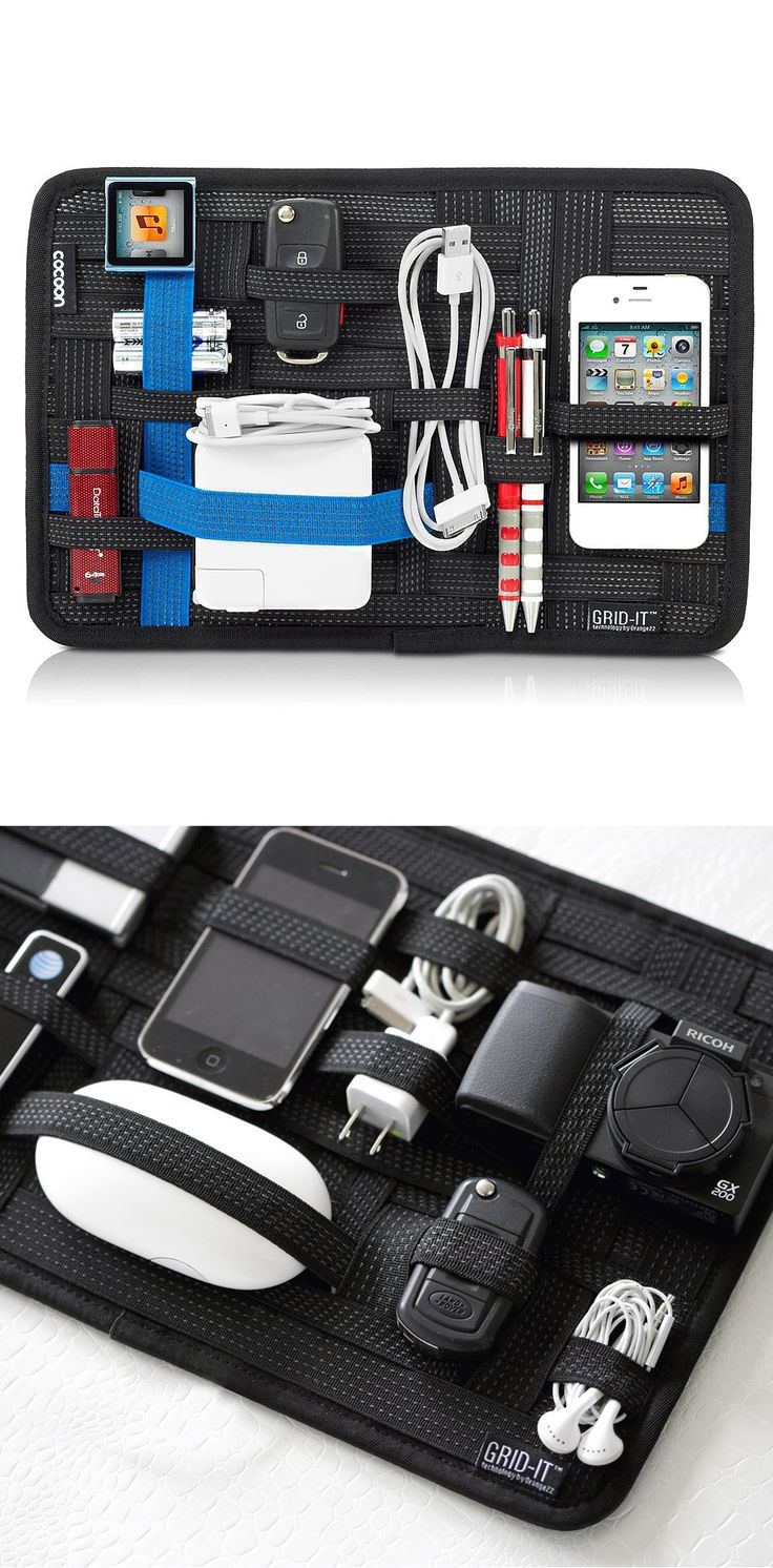 GRID-IT Organization system - easily configurable to fit tools or tech supplies. This might be nice for organizing all of the chargers and gadgets that need packed when traveling