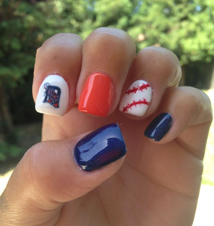 Love my Detroit Tigers nails. Done in Clovis, CA. Nail waterslide decal from PaipurNails on etsy