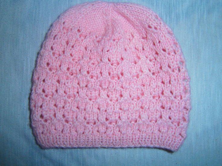 ажурная шапочка для новорожденного спицами