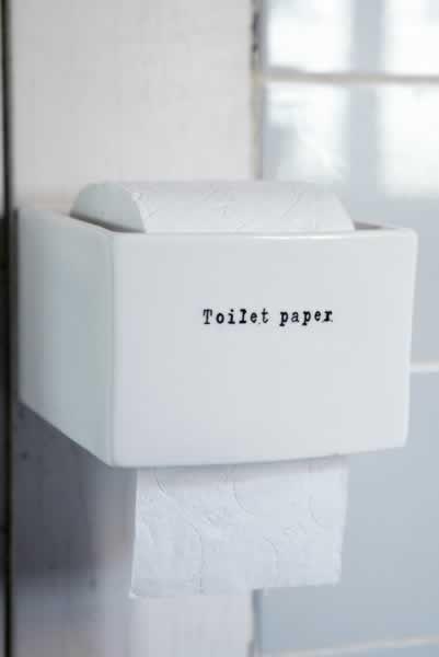porcelain toilet paper holder