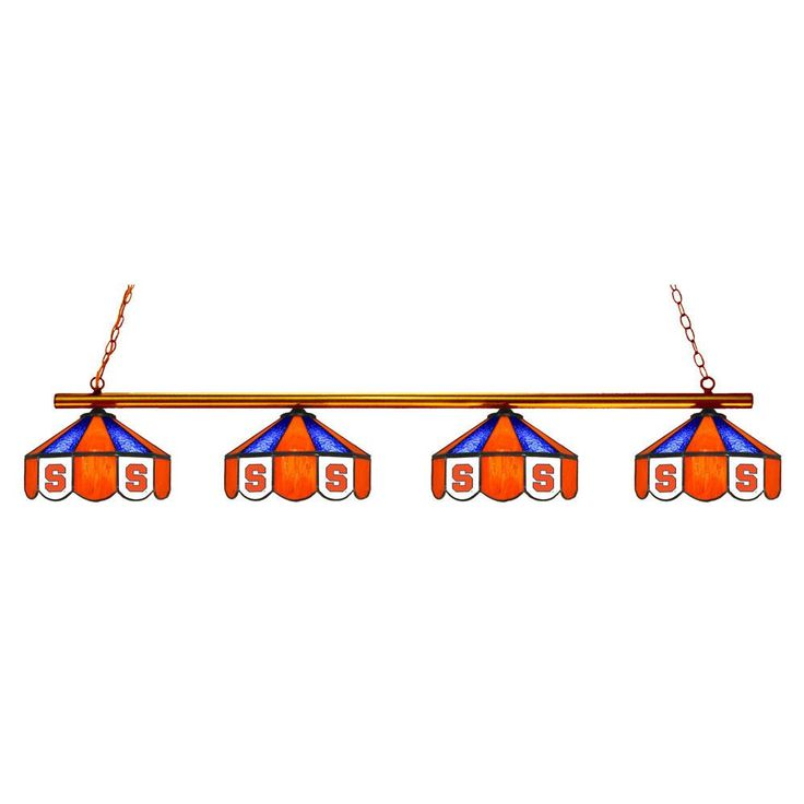 4 Pendant Syracuse Orange Chandelier w/ Tiffany Lampshades