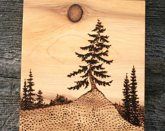 A print of my original Ancient Tree wood burning mounted onto a burnt wood block. Lightly sanded to give an aged look to the finished piece. Measures about 5 inches tall X 3 3/4 inches wide. Made to order. A wonderful and rustic addition to your home, cabin or summer hideaway! Unique and Beautiful