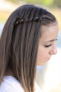 Pics Of Hairstyles loop waterfall braid by cute girls hairstyles such a cool pattern by just adding a Four Strand Waterfall Braid Tutorial