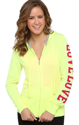 Deb Shops Long Sleeve French Terry Hoodie with Thermal Hood and Love Arm Patch $18.83